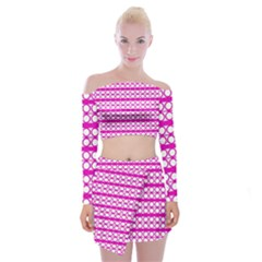 Circles Lines Bright Pink Modern Pattern Off Shoulder Top With Mini Skirt Set
