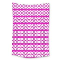Circles Lines Bright Pink Modern Pattern Large Tapestry