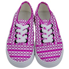 Circles Lines Bright Pink Modern Pattern Kids  Classic Low Top Sneakers