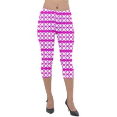 Circles Lines Bright Pink Modern Pattern Lightweight Velour Capri Leggings  by BrightVibesDesign