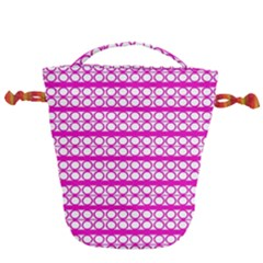 Circles Lines Bright Pink Modern Pattern Drawstring Bucket Bag by BrightVibesDesign