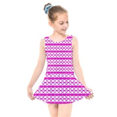 Circles Lines Bright Pink Modern Pattern Kids  Skater Dress Swimsuit
