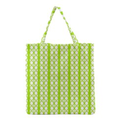 Circle Stripes Lime Green Modern Pattern Design Grocery Tote Bag by BrightVibesDesign