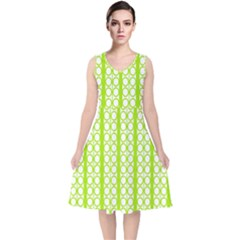 Circle Stripes Lime Green Modern Pattern Design V Neck Midi Sleeveless Dress