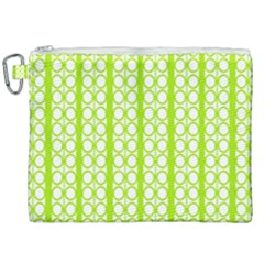 Circle Stripes Lime Green Modern Pattern Design Canvas Cosmetic Bag (xxl) by BrightVibesDesign