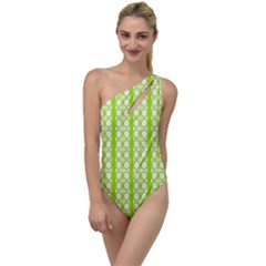 Circle Stripes Lime Green Modern Pattern Design To One Side Swimsuit by BrightVibesDesign