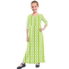 Circle Stripes Lime Green Modern Pattern Design Kids  Quarter Sleeve Maxi Dress by BrightVibesDesign