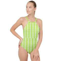 Circle Stripes Lime Green Modern Pattern Design High Neck One Piece Swimsuit