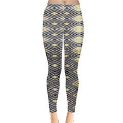 Gold Triangles And Black Pattern By Flipstylez Designs Leggings