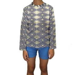 Gold Triangles And Black Pattern By Flipstylez Designs Kids  Long Sleeve Swimwear