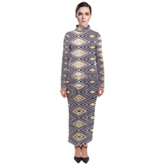 Gold Triangles And Black Pattern By Flipstylez Designs Turtleneck Maxi Dress