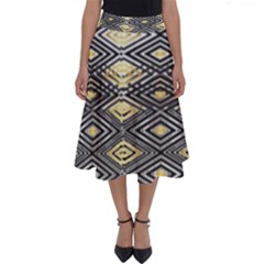 Gold Triangles And Black Pattern By Flipstylez Designs Perfect Length Midi Skirt