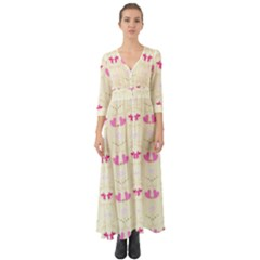 Tiny Heart And Flowers By Flipstylez Designs Button Up Boho Maxi Dress