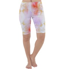 Beautiful Pastel Marble Gold Design By Flipstylez Designs Cropped Leggings