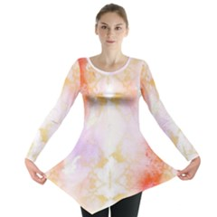 Beautiful Pastel Marble Gold Design By Flipstylez Designs Long Sleeve Tunic