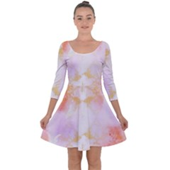 Beautiful Pastel Marble Gold Design By Flipstylez Designs Quarter Sleeve Skater Dress