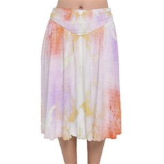Beautiful Pastel Marble Gold Design By Flipstylez Designs Velvet Flared Midi Skirt