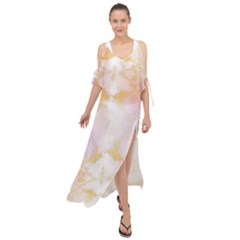 Beautiful Pastel Marble Gold Design By Flipstylez Designs Maxi Chiffon Cover Up Dress by flipstylezdes