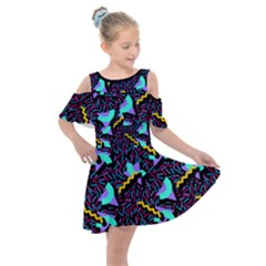 Memphis Style 1 Kids  Shoulder Cutout Chiffon Dress