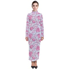 Pink Roses Pattern Turtleneck Maxi Dress