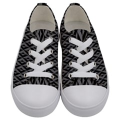 B/w Abstract Pattern 2 Kids  Low Top Canvas Sneakers
