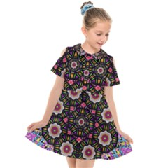 Decorative Ornate Candy With Soft Candle Light For Peace Kids  Short Sleeve Shirt Dress