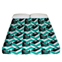 Vintage Camera Chevron Aqua Fitted Sheet (queen Size)