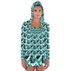 Vintage Camera Chevron Aqua Long Sleeve Hooded T Shirt