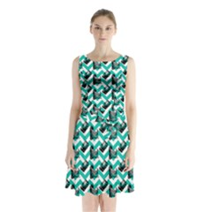 Vintage Camera Chevron Aqua Sleeveless Waist Tie Chiffon Dress