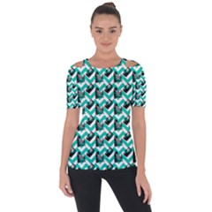 Vintage Camera Chevron Aqua Shoulder Cut Out Short Sleeve Top