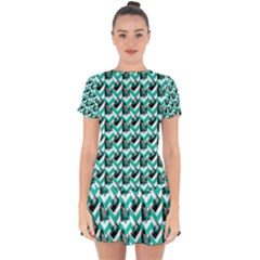 Vintage Camera Chevron Aqua Drop Hem Mini Chiffon Dress