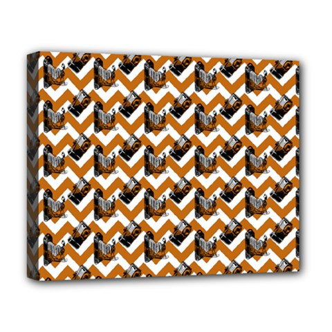 Vintage Camera Chevron Orange Deluxe Canvas 20  X 16  (stretched)