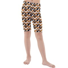 Vintage Camera Chevron Orange Kids  Mid Length Swim Shorts