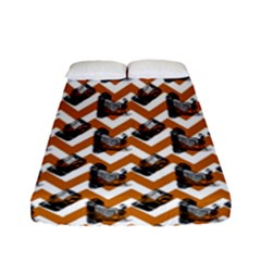 Vintage Camera Chevron Orange Fitted Sheet (full/ Double Size)