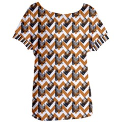 Vintage Camera Chevron Orange Women s Oversized Tee