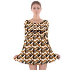 Vintage Camera Chevron Orange Long Sleeve Skater Dress