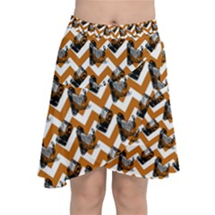 Vintage Camera Chevron Orange Chiffon Wrap Front Skirt