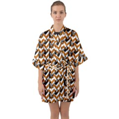 Vintage Camera Chevron Orange Quarter Sleeve Kimono Robe