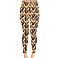 Vintage Camera Chevron Orange Inside Out Leggings