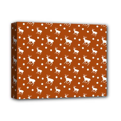 Deer Dots Orange Deluxe Canvas 14  X 11  (stretched)