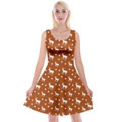 Deer Dots Orange Reversible Velvet Sleeveless Dress