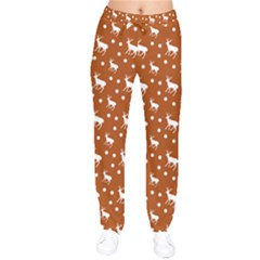 Deer Dots Orange Velvet Drawstring Pants