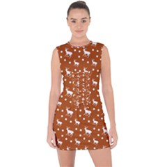 Deer Dots Orange Lace Up Front Bodycon Dress