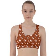 Deer Dots Orange Back Weave Sports Bra