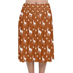 Deer Dots Orange Velvet Flared Midi Skirt
