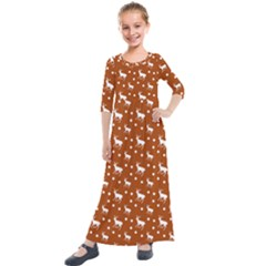 Deer Dots Orange Kids  Quarter Sleeve Maxi Dress