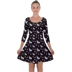 Deer Dots Brown Quarter Sleeve Skater Dress