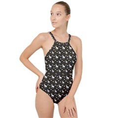 Deer Dots Brown High Neck One Piece Swimsuit
