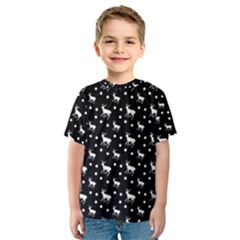 Deer Dots Black Kids  Sport Mesh Tee