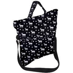 Deer Dots Black Fold Over Handle Tote Bag